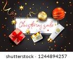 christmas sale vector poster.... | Shutterstock .eps vector #1244894257