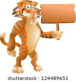 tiger with sign