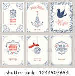 ornate merry christmas greeting ... | Shutterstock .eps vector #1244907694