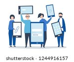 characters of people holding... | Shutterstock .eps vector #1244916157