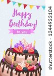 bright birthday cakes vector...   Shutterstock .eps vector #1244933104