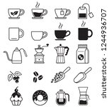 coffee black icons. vector...   Shutterstock .eps vector #1244936707