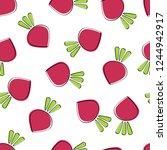 beet vegetable seamless...   Shutterstock .eps vector #1244942917