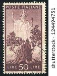 italy   circa 1945  stamp... | Shutterstock . vector #124494751