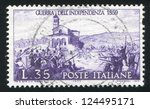 italy   circa 1959  stamp... | Shutterstock . vector #124495171