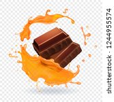 chocolate in caramel splash... | Shutterstock .eps vector #1244955574