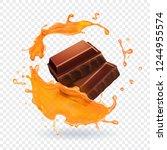 chocolate in caramel splash... | Shutterstock .eps vector #1244955574