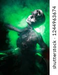 hot scary death bodyart woman... | Shutterstock . vector #1244963674