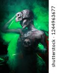 hot scary death bodyart woman... | Shutterstock . vector #1244963677