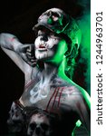 hot scary death bodyart woman... | Shutterstock . vector #1244963701