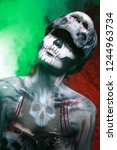 hot scary death bodyart woman... | Shutterstock . vector #1244963734