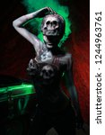 hot scary death bodyart woman... | Shutterstock . vector #1244963761