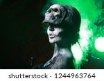 hot scary death bodyart woman... | Shutterstock . vector #1244963764