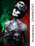 hot scary death bodyart woman... | Shutterstock . vector #1244963767