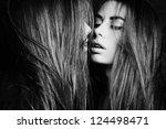 Beautiful sexy young woman near a mirror. Fashion photo - stock photo