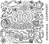 good morning text. doodle stile ... | Shutterstock .eps vector #1244994397