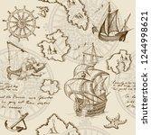 old caravel  vintage sailboat ... | Shutterstock .eps vector #1244998621