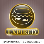 gold badge with fishbowl with... | Shutterstock .eps vector #1245002017
