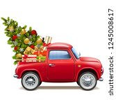 vector christmas red pickup... | Shutterstock .eps vector #1245008617