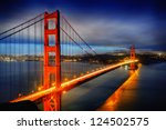 Stock photo famous golden gate bridge san francisco at night usa 124502575