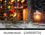 christmas photo of window sill... | Shutterstock . vector #1245035731