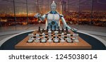 white humanoid robot with the... | Shutterstock . vector #1245038014