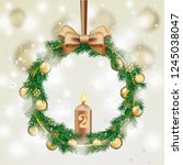 advent wreath with green twigs  ... | Shutterstock .eps vector #1245038047