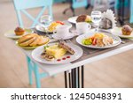 three course dinner  salad ... | Shutterstock . vector #1245048391
