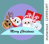 christmas card  santa snowman... | Shutterstock .eps vector #1245051397