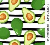 avocado seamless pattern for... | Shutterstock .eps vector #1245053647
