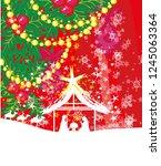 birth of jesus in bethlehem  ... | Shutterstock .eps vector #1245063364