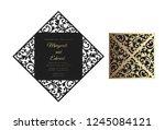 four fold laser cut template.... | Shutterstock .eps vector #1245084121
