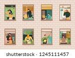 set of neighbors during various ... | Shutterstock .eps vector #1245111457