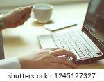 businessman working on a... | Shutterstock . vector #1245127327