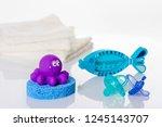 still life with baby hygiene... | Shutterstock . vector #1245143707