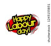 happy labour day with red cloud | Shutterstock .eps vector #1245155851