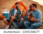 group of young friends having... | Shutterstock . vector #1245158677