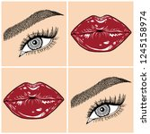 illustration with collage of... | Shutterstock .eps vector #1245158974