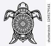 vector turtle polynesian tattoo ... | Shutterstock .eps vector #1245179161