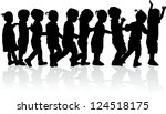 group of children's silhouettes   Shutterstock .eps vector #124518175