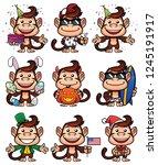 set of cartoon monkey mascots... | Shutterstock .eps vector #1245191917
