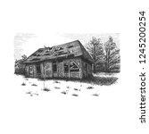 old barn. original hand drawn... | Shutterstock .eps vector #1245200254