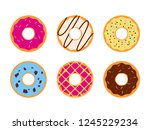 set of colorful donuts glazed... | Shutterstock .eps vector #1245229234