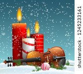 christmas theme with violin and ... | Shutterstock .eps vector #1245233161