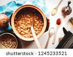 legume lunch. top view of beans ... | Shutterstock . vector #1245233521