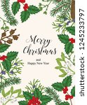 hand drawn christmas card with... | Shutterstock .eps vector #1245233797