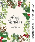 hand drawn christmas card with... | Shutterstock .eps vector #1245234364