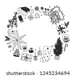 hand drawn christmas... | Shutterstock .eps vector #1245234694