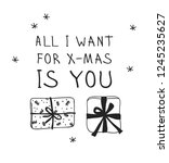 hand drawn christmas gift box... | Shutterstock .eps vector #1245235627
