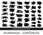 set of black paint  ink brush... | Shutterstock .eps vector #1245236131